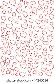 Red hearts background on white.