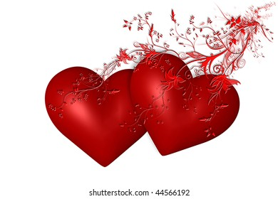 Red hearts and flowers on white background