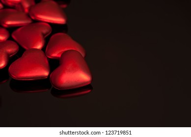 Red Hearts on Black Glass