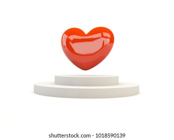 Red hearts on podium isolated on white. 3D illustration