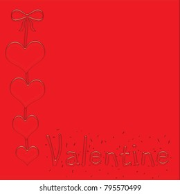 red hearts on red ribbon background Valentine illustration