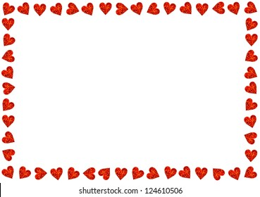 Red Hearts On White Background For Valentines Day, Valentines Card, Love