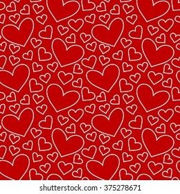 Red hearts seamless pattern. Valentine's day. Hand drawn background.