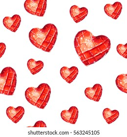 Red hearts, seamless watercolor pattern