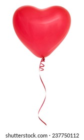 Red heart-shaped balloon isolated on white background.