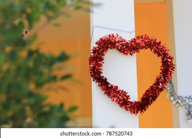 Red heart-shaped decoration at the Pole
