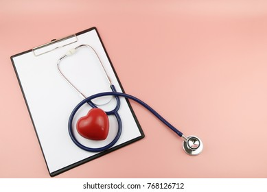 red heart,stethoscope and Clipboard Concept healthcare. copy space,Top view,flat lay