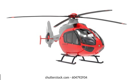 Red helicopter isolated on the white background. 3d illustration