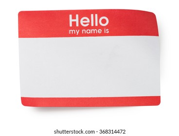 Red Hello Name Tag on White
