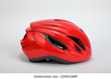 red helmet of bicycle
