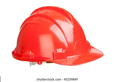 Red helmet isolated on a over white background