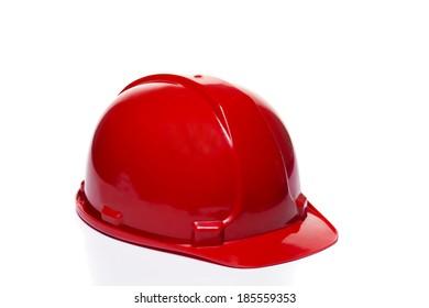 Red helmet isolated on white