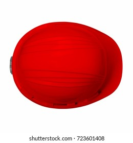 Red helmet isolated on white background with clipping path top view.