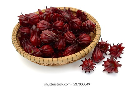 Red Hibiscus flowers in basket, Isolated on White Background