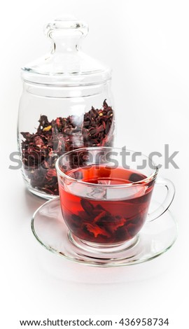 Red Hibiscus Tea Transparent Cup Leaves Stock Photo Edit Now