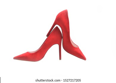 Red high heel isolated on white background
