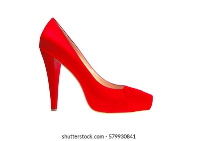 red high heeled shoe isolated on white background