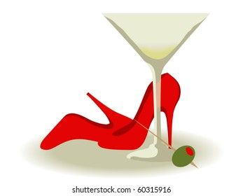 Red High Heels and a Martini