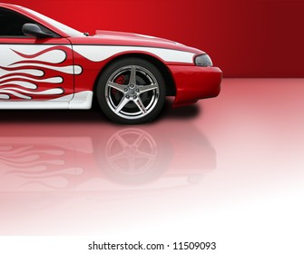 Red high performance street racer with copy space - Clipping Path Included