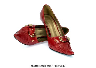 Red high woman's shoes