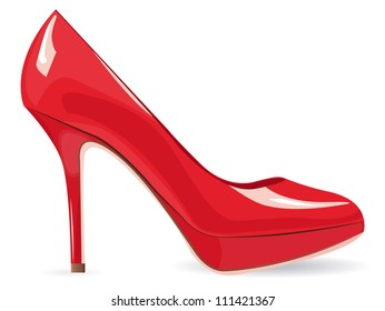 Red high-heeled shoe over white with space to your own text