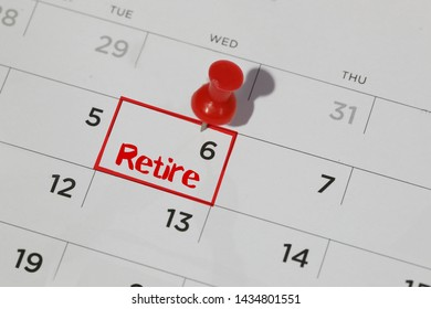 red highlighter with retire date on calendar