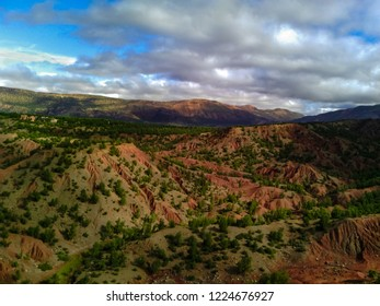 Red hills in the Moroccan Toubkal National Park, part of the Atlas mountains near Marrakesh