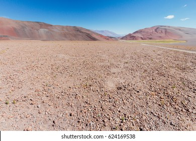 Red hills with steppe rocks in Catamarca, Argentina