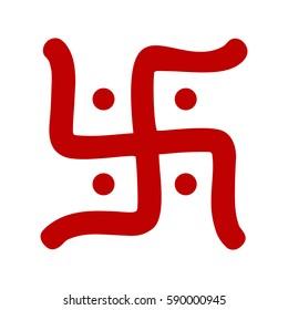 red hindu swastika religious symbol over white