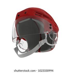 Red Hockey Helmet on white. 3D illustration