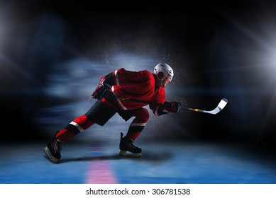 Red hockey player running fast with raged face