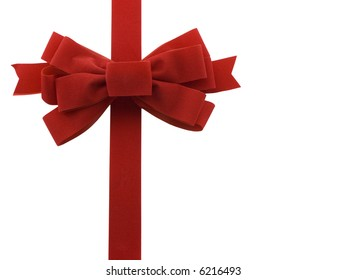 Red holiday bow isolated on white