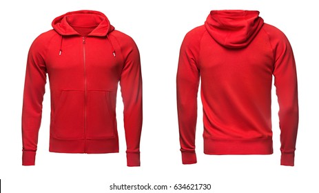 red hoodie, sweatshirt mockup, on white background