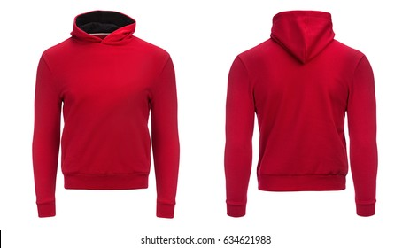 red hoodie, sweatshirt mockup, on white background.