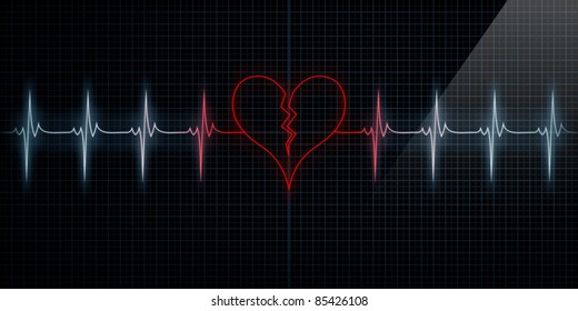 Red Horizontal Pulse Trace Heart Monitor with the symbol of a broken heart in line with the pulse. Concept for broken heart or heart attack or love loss.