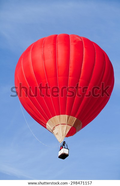 Red Hot Air Balloon in the air