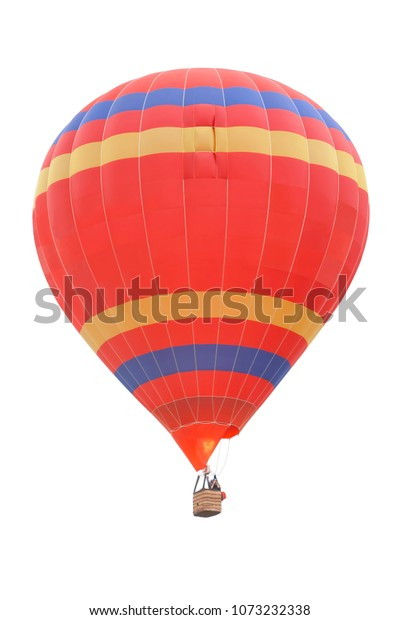 Red Hot Air Balloon with Blue and Yellow Stripes isolated on a White Background