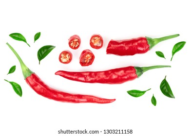 red hot chili peppers isolated on white background with copy space for your text. Top view. Flat lay pattern