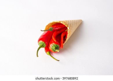 Red hot chili peppers in a wafer cone, unusual food