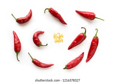 Red hot chilli peppers with seed. Food background. Top view.