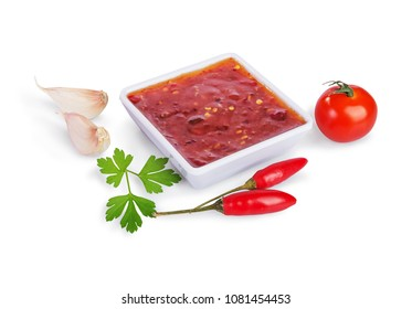 red hot chilli sauce  isolated on a white background.