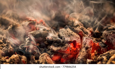 Red hot coals for barbecuing kababs for Ramadan festivities