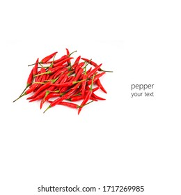 red hot pepper on a white background. space for your text.