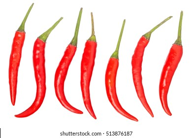 red hot pepper set isolated on a white background
