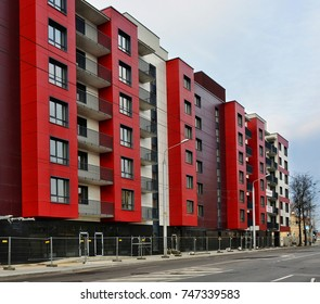 Red house. Blocks. High rise buildings. European architecture. Construction industry and development of residential infrastructure in Baltic countries. Housing in Lithuania, Vilnius - April 27, 2017