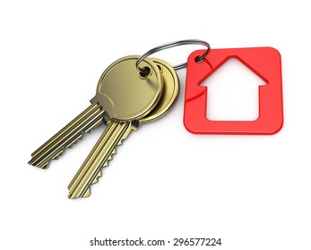 red house and gold key, on a white background, 3d render