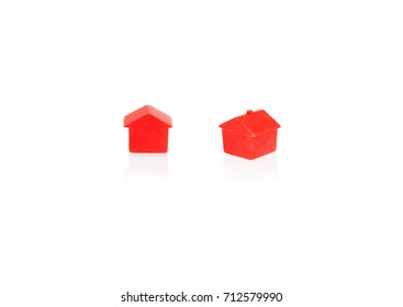 Red house isolated on white background