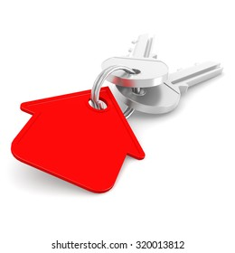 Red house key image with hi-res rendered artwork that could be used for any graphic design.
