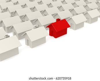 Red house selected in estate, 3d rendering