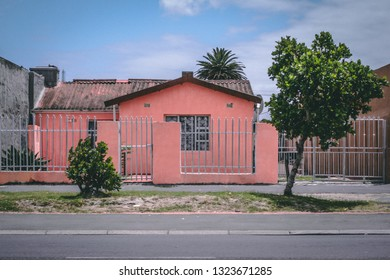 A red house in the South African Township Langa close to Cape Town